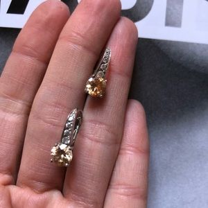 Sterling silver, diamond and gemstone earrings